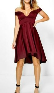 NWT Red Berry Wine Off Shoulder  Dress US 6